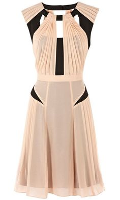 Warehouse Panelled Pleated Dress