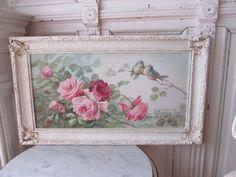 OMG-ORIGINAL-Christie-REPASY-PAINTING-PINK-ROSES-amp-BIRDS-in-Ornate-Gesso-Frame