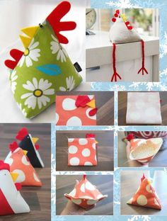Quick & easy Chicken Pattern in Pyramid / Tetrahedron shape. Perfect to sew as ornament, pincushion, doorstop, bean bag, potpourri sachet & paper weight. Kids Crafts, Hobbies And Crafts, Felt Crafts, Easter Crafts, Crafts To Make, Fabric Crafts, Sewing Crafts, Sewing Projects, Craft Projects