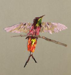 Topaza Pella Hummingbird. 2013. Entry for MAANZ Illuminate exhibition. Orsoni smalti, German glass eyes, twig.