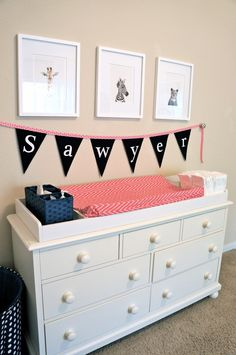 Love the idea of changing table and organization on top of a long dresser! Project Nursery - Girl Pink and Navy Nursery Changer Girl Nursery Colors, Navy Nursery, Nursery Name, Girl Room, Baby Room, Nursery Inspiration, Nursery Ideas, Everything Baby, Project Nursery