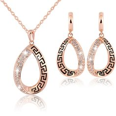 WaterDrop Shaped 18K Rose Gold Plated Jewelry Set