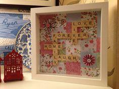 Scrabble frame family patchwork style keepsake by HeartsNCraftsNI