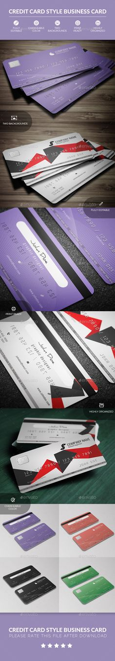 Credit Card Style Business Card Design - Business Cards Template PSD. Download here: http://graphicriver.net/item/credit-card-style-business-card/16921675?ref=yinkira