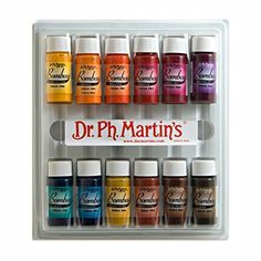 Dr. Ph. Martin's Bombay India Ink Bottles, 0.5 oz, Set of 12 (Set 2) Dr. Ph. Martin's http://www.amazon.com/dp/B004BNBVO6/ref=cm_sw_r_pi_dp_MGNYwb11YBDQ9