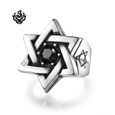 MAgen David Ring http://www.softgothic.com.au/en/rings/380-Silver-biker-ring-pentagram-star-solid-heavy-stainless-steel-band.html