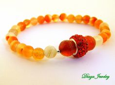 Orange Agate and Red Charm Bracelet