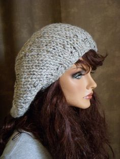 Super Slouchy Knit Hat :: Grande Pale Gray Tweed