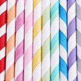 Pajitas de papel mix rayas multicolor / 20 uds.