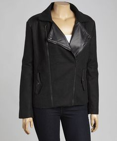 Another great find on #zulily! Black Faux Leather-Trim Moto Jacket - Plus #zulilyfinds