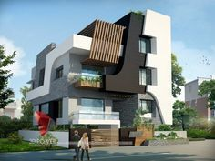 A great ultra modern bungalow design gives a complete new style statement to your dream project. Bungalow House Design, House Front Design, Small House Design, Roof Design, Modern House Design, Exterior Design, Modern Bungalow Exterior, Ultra Modern Homes, 3d Home