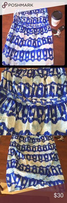 Anthropologie Tie Dye Strapless Dress Tulip wrap hem, loose fit, empire waist or high waist depending on your height, no flaws, elastic top, true to size recommend bw 4-8 Anthropologie Dresses Midi