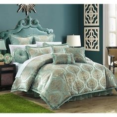 Chic Home 9 Piece Como Decorator Upholstery Quality Jacquard Motif Fabric Bedroom Comforter Set & Pillows Ensemble, Queen, Blue - List for Home and Garden Products Bedroom Comforter Sets, Blue Comforter Sets, King Comforter, Bedroom Paint Colors, Queen, Luxury Bedding, Modern Bedding, Comforters, Bedspreads