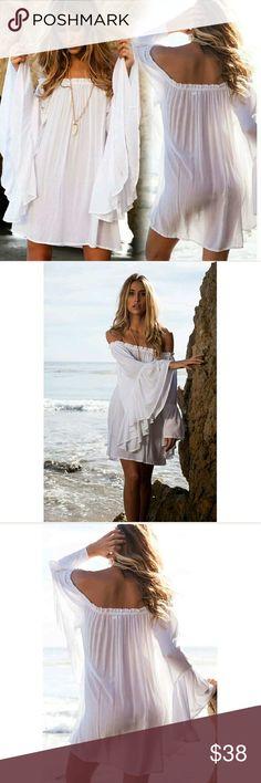 NEW! Beautiful White Chiffon Dress Cover Up Showstopper!   Beach Boho Ruffle Sleeve  Off Shoulder  Tunic /Mini Dress/ Cover Up  Matertial:  93% Cotton 7% Polyester  Size: One Size  No Trades  Fast Shipping Moda Ragazza  Swim Coverups