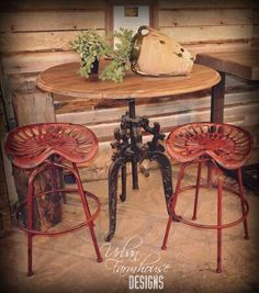 Love these stools! Great way to repurpose that broken down tractor. Country Farmhouse, Farmhouse Table, Country Living, Urban Farmhouse Designs, Urban Farming, Furniture Inspiration, Bar Stools, Repurposed, Rustic