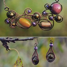Yellow red violet beads with copper jewelry set by DotsAndLines89
