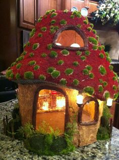 Toadstool Fairy house with lights
