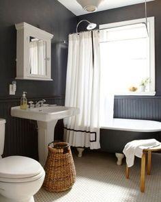 Washstand Under Medicine Cabinet Plus Mirror Beside Bathtub Paired With White Shower Curtain
