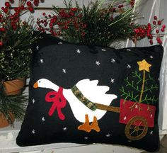 FABRIC ONLY for the Christmas Goose pillow by SimplyUniqueBySheila, $23.95