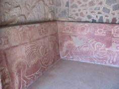 Original painting in the Museum of Teotihuac谩n with the Pyramids of The Sun and The Moon, Mexico City.