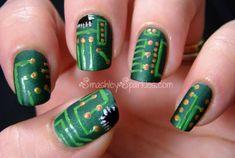 Nerdiest Nails, circuit boards, nerd, geek, nail art, ideas, green, micro chip, computer