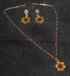 Sunny Sunflower Crystal Beaded Necklace & Earring by NostalgiaNeu, $29.95