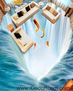 Waterfall Fish Jumping 00034 Floor Decals 3D Wallpaper Wall Mural Stickers Print…