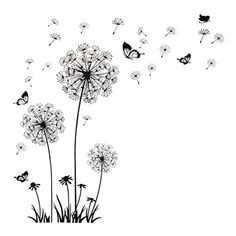 1 PCS Butterfly Flying in Dandelion Bedroom Living Room Decoration Stickers PVC Wall Stickers Home Decor Backdrop Dandelion Wall Decal, Dandelion Art, Dandelion Designs, Butterfly Wall Decals, Dandelion Tattoo Design, Wall Sticker Design, Wall Stickers Home Decor, Wall Decal Sticker, Bedroom Stickers