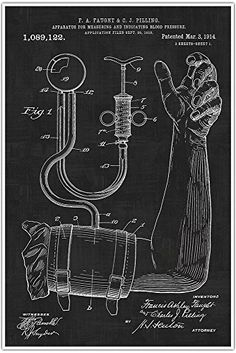 Patent Poster Print 1914 Blood Pressure Cuff Art Print  Medical  BP Cuff  Doctor  Doctors Office  Physician Wall Art  Nurse Gift ** Visit the image link more details. Note:It is affiliate link to Amazon.
