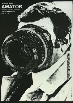 """""""Der Filmamateur"""" - (camera buff), film by Krzysztof Kieslowski, Polish poster design by Andrzej Krauze. A wonderful film. Vintage Graphic Design, Graphic Design Posters, Graphic Design Illustration, Graphic Design Inspiration, Graphic Art, Graphic Illustrations, Polish Movie Posters, Polish Films, Gfx Design"""