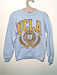 vintage UCLA Varsity 90 college number grunge baseball fleece sweatshirt color tennis rocker western rockabilly man women striped XS S