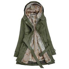 Womens Warm Fleece Faux Fur Coat Winter Trendy Hooded Coat Army Green