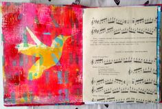 On the left: gelli art print, on the right: music sheet from 1964