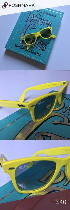 Worn ONCE! Ray-Ban Wayfarer sunglasses Lenses in great condition! Bright yellow frame, excellent for summer fun! I cannot find original case, but have kept in other case for protection. They're super cute and so eye catching! Ray-Ban Accessories Sunglasses