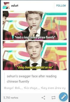 Sehun's swagger face after reading Chinese fluently