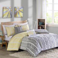 Modern Geometric Grey & Yellow Chevron Comforter Shams AND Decorative Pillows #Modern