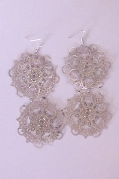 Large Double Silver Snowflake Earrings  Silver by OtherItemsFor11Q