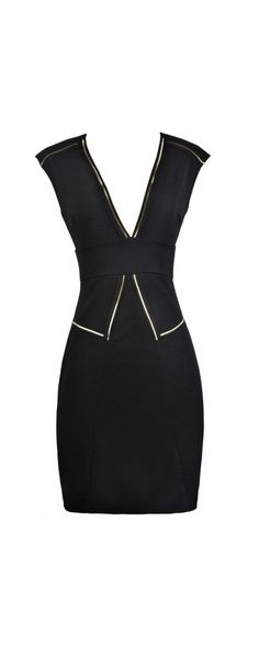 Lily Boutique Trimmed In Gold Black Pencil Dress, $40 Black and Gold Pencil Dress, Little Black Dress, Black Cocktail Dress, Black Pencil Dress www.lilyboutique.com