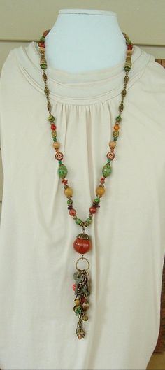 Boho Necklace Bohemian Necklace Extra Long Beaded Necklace