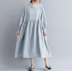 Cotton and linen leisure Dresses Loose long doll dress/ light blue/black/ dark red Linen Dresses, Cotton Dresses, Casual Dresses, Short Sleeve Dresses, Summer Dresses, Modest Fashion, Fashion Dresses, Cotton Long Dress, Oversized Dress