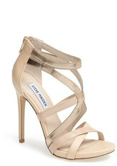 "Steve Madden ""Stella"" nude-and-light-gold-metallic leather open-toe high-heeled caged sandal Dream Shoes, Crazy Shoes, Cute Shoes, Me Too Shoes, Shoe Boots, Shoes Heels, Heeled Sandals, Strappy Sandals, Nude Heels"