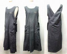 Y's for living  黒ロゴ入りエプロン型立体ワンピース(apron type three-dimensional dress)ワイズフォーリビング ヨウジヤマモト