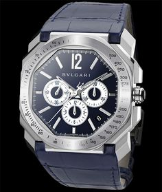 Bulgari Octo in stainless steel, on alligator leather strap. Available at Cellini Jewelers NYC
