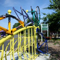 We love this recycled bike rack in the Warnersville neighborhood near Grounded Here. Downtown Greenway, Greensboro, NC.