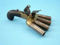 """Rare Flintlock """"Duckfoot"""" 4-Barrel Pistol, c.1780 with two inch barrels in .52 calibre"""