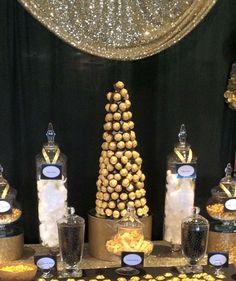 Black and gold candy buffet