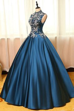 dark teal A-line satin with lace long prom dress | Okbridal