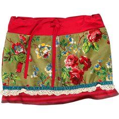 """Rokje met bloem patroon van het merk Kiezeltje Mini voor meisjes in de kleur groen-roze. Het kledingstuk is uit de collectie """"Winter 2012/2013"""". Artikelnummer:K2410"""
