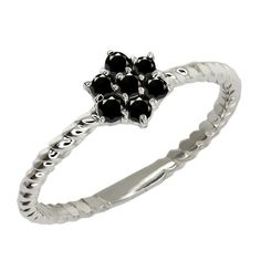 Round Black Diamond Sterling Silver Ring -