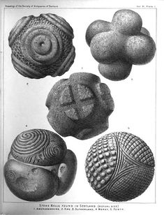 """""""Notes of Small Ornamented Stone Balls"""" starts on page from """"Proceedings of the Society of Antiquaries of Scotland"""", December Ancient Aliens, Ancient History, Ancient Artefacts, Arte Tribal, Art Premier, Modelos 3d, Ancient Mysteries, Celtic Art, Iron Age"""